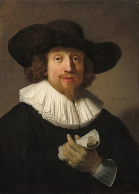 Rembrandt van Rijn (Dutch, 1606 - 1669), Man with a Sheet of Music, 1633, oil on panel, Corcoran Collection (William A. Clark Collection) 2014.136.41
